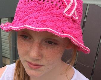 women sun hat, bucket hat, cotton hat, chemo hat, breast cancer awareness hat, women pink hat, pink ribbon