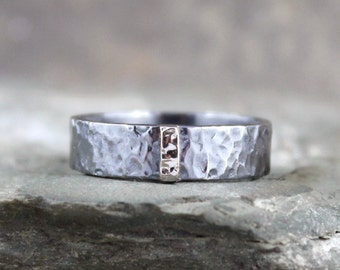 14K White Gold and Black Sterling Silver Band - Flat Pipe Style - Mens or Ladies Jewellery - 6mm Wedding Bands - Mixed Metal - Stacking Ring