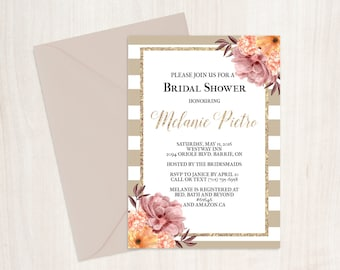 brown and white striped bridal shower invitation, beige and white bridal shower invitation, neutral bridal shower invitation, tan invitation