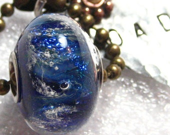 Ashes in Glass Pandora Style Single Bead, Cremation Jewelry, Pet Memorials