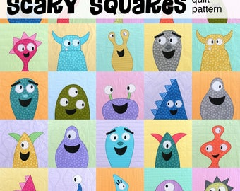 Scary Squares Monster Quilt Pattern PDF
