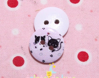 Round wood button two hole patterns kittens pink 15mm