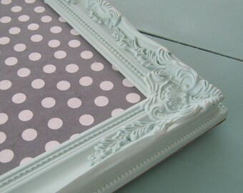 Shabby Mint Green Ornate Bulletin Board Gray Polka Dot Pin Board Fabric Decorative Cork Board Kitchen Organizer Teen Room