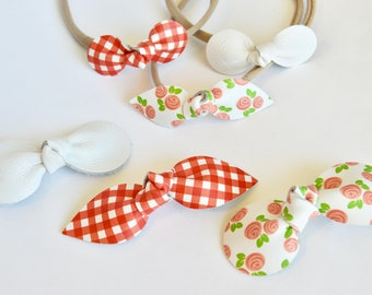 Red and White Gingham and Posies  Bow Multi Pack // Leather Knotted Hair Bows  // Leafy Treetop Leather