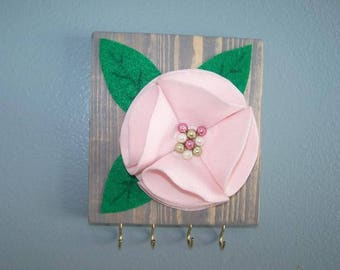 3D Flower Wall Plaque Pink/Weathered Oak
