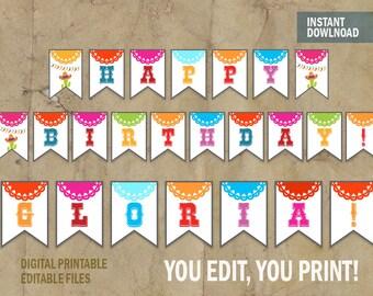 Fiesta Party Banner, Editable Fiesta Banner, Fiesta Birthday Banner, Instant Download DIY and Edit with Adobe Reader