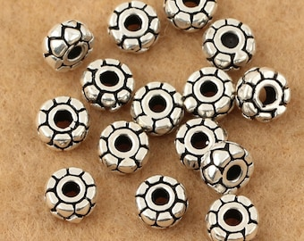 10pcs 5mm 925 Sterling Silver Tire Mala Beads / Findings / Spacer, Antique Silver Beads