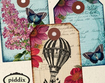 Flutterby Tags 2.5x3.5 inches Vintage Images Bicycles, Flowers, Hot Air Balloons, Butterflies, Downloadable Printables  -- collage sheet 937