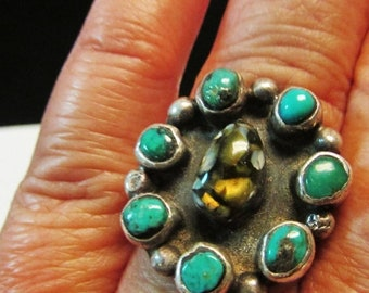 On Sale Vintage Estate Etched Signature Silver Turquoise Southwestern Ring