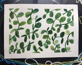 Leaves onGreen Leaves, 8x11, Original Art, Watercolor