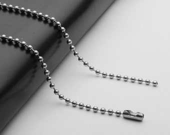 1.6mm 2.0mm 2.4mm 3.0mm Stainless Steel Ball Chain In Various Lengths Dog Tag Necklace