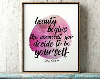Coco Chanel Wall Art - Beauty Quote Art Print - Coco Chanel Quote - Inspirational Wall Decor - Dorm Room Decor Idea -Gift For Her Mompreneur