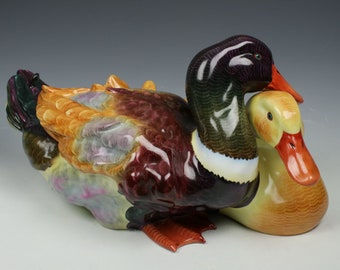 """Large 15"""" Herend Figurine """"Two Ducks"""""""