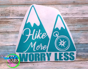Hiking Decal, Hike more worry less, Hike decal, Hike more worry less decal, Outdoor decal, Camping decal, Hiking Car Decal, decal, hiking