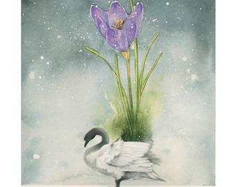 Fine Art Swan Print Giclée A4 21 x 30 cm of my watercolor illustration