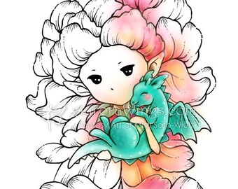 Digital Stamp - Snapdragon Sprite with Baby Dragon - Instant Download - digistamp - Fantasy Line Art for Cards & Crafts by Mitzi Sato-Wiuff