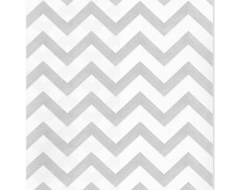 100 Silver Gray Chevron Paper Bags, 4x6 inches with Chevron Stripes on White Paper - Flat Merchandise Bags