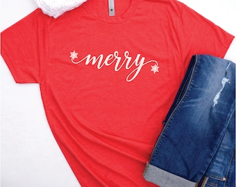 Holiday T-shirt, Holiday Shirts for Women, Christmas T-shirt, Holiday T Shirts, Women's Holiday Shirt Christmas, Merry and Bright Shirts
