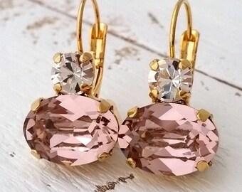 Blush earrings,Morganite earrings,Blush pink Bridesmaids gifts,Blush pink Swarovski earrings, Dangle earrings, Bridal earrings,Gold earrings