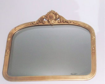 Vintage French Style Wood Mirror with Ornate Crest and Tassel Design- Shabby Chippy Victorian