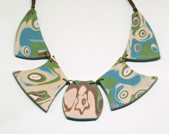 Bib necklace, Gift for her, Polymer clay, Unique jewelry, Modern art, Abstrat, Geometric necklace, Hand made jewelry, Boho chic