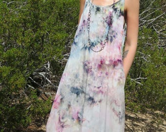 Bohemian maxi dress with pockets // hand-dyed watercolor // boho dress // long dress // colorful with POCKETS