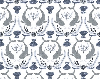 Narwhal Damask in White  637 - INTO THE REEF  by Rae Ritchie - Dear Stella Design Fabric - By the Yard