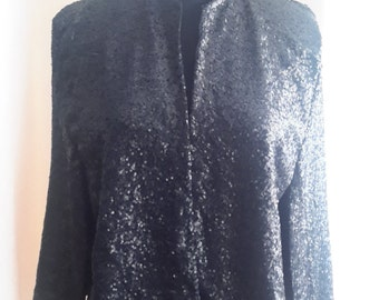 Sequin Cape Blazer With Round Neck