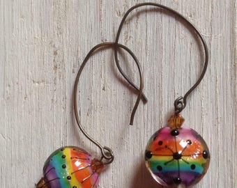 RAINBOW Earrings Colorful Murano Glass Lampwork Earrings GayPride LoveWins Purple Blue Green Pink Yellow Orange Black by SusanHeleneDesigns