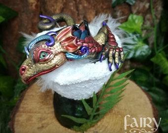 OOAK dragon, nesting dragon, fantasy creature.