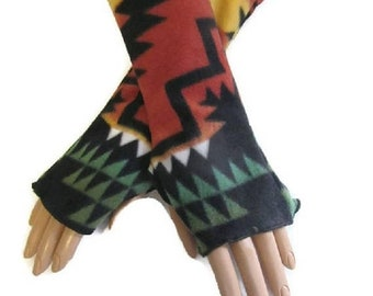 ON SALE Native American Style Arm Warmers Fingerless Gloves Fleece Wrist Hand Warmers Gift For Her Handmade Harry Potter Christmas Women Han