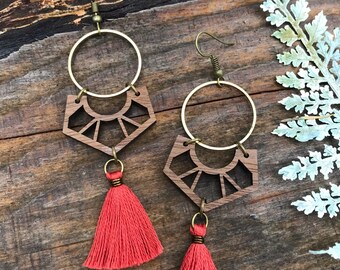 Wooden Earrings - Coral Tassels and Brass