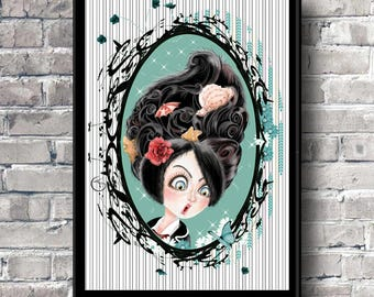 Pin up Pop surrealism Art print Illustration art Colors to choose Childrens room Colorful portrait Bright colors