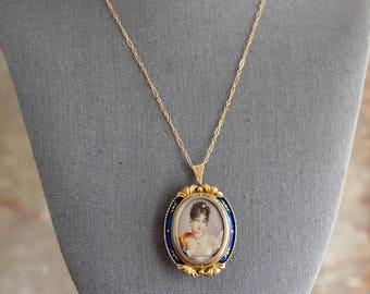 18K Corletto Portrait Necklace, Miniature Portrait Pendant, Miniature Portrait Necklace, Vintage Portrait Brooch, 18K Portrait Brooch