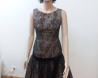 1960s Party Dress With Black Floral Organza Overlay