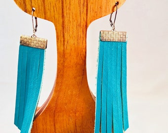 Handmade Earrings, Turquoise Blue Leather Fringe, Silver Top with Silver Lever Back Wires