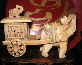 Elephant and a cart,small figurine