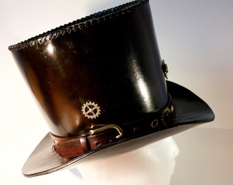 Steampunk Style Dark Brown Leather Top Hat with Lighter Brown Hat Band, Brass & Brass Plated Embellishments