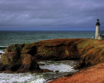 Yaquina Head lighthouse - Rustic Home Decor - Photograhy - Fine Art Photography - Photo Art - Oregon Coast - Wall Art - 8 X 12 +