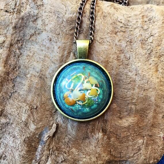 High Priestess Orgonite Amulet- Orgone Energy Pendant- Peridot Alchemy Orgnite Necklace- Dark Magic Protection- Curse Sheild Talisman