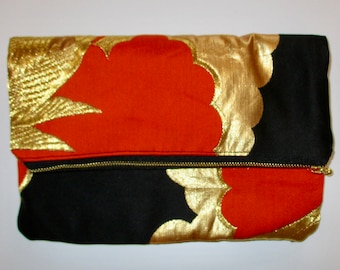 Red and Gold Phoenix Two-way Fold Over Obi Silk Clutch Purse