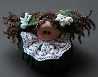 Elvina green lavender dolls, dolls with curly brown hair