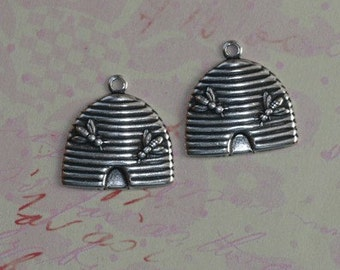 2 Silver Bee Hive Charms 1420