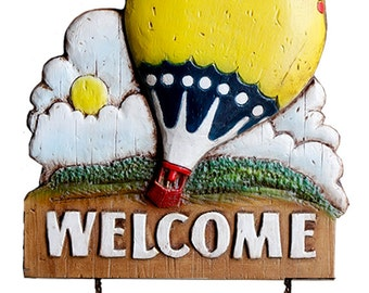 Hot Air Balloon Personalized Welcome Sign for Your Home