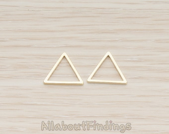 PDT1009-02-G // Glossy Gold Plated 13mm Triangle Link Pendant, 4 Pc
