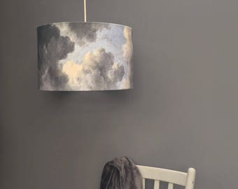 Handmade lampshades and prints by kettleoffishdesigns on etsy clouds lampshade 45cm cloudy skies drum lampshade kettle of fish designs aloadofball Images
