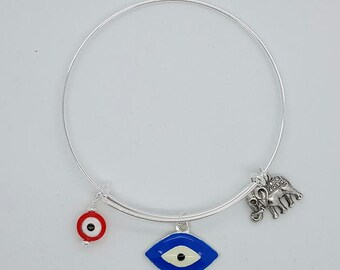 girls evil eye bangle bracelet, womens evil eye red and blue eleplant bangle bracelet, good luck bangle bracelet, evil eye silver bracelet
