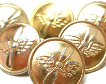 """6 Military buttons, wings & propeller, Soviet CCCP. 1"""", Steampunk style."""