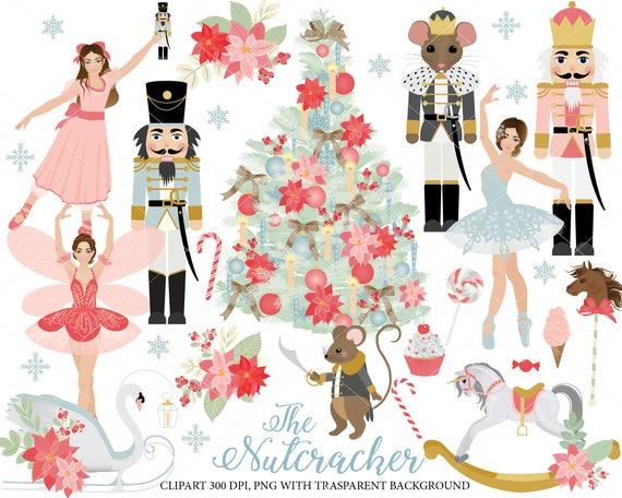 nutcracker ballet clipart set ballerinas sugarplum fairy rh etsy com nutcracker ballet clip art free Nutcracker Ballet Stage