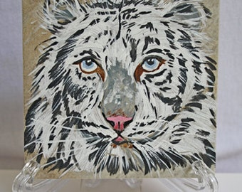 Painting on a tile-White Tiger
